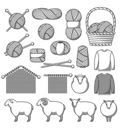 set of wool items goods for hand made knitting vector image