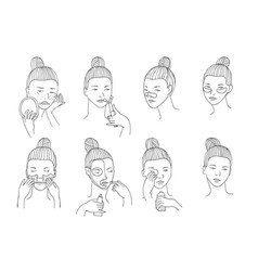Set with women head in different conditions vector