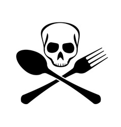 Sign of spoons forks and skull vector image