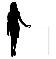 silhouette of a woman in short dress with a sign vector image