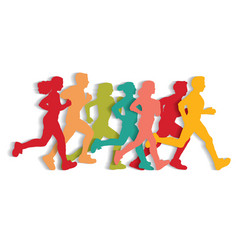 Sport running people cutout flat silhouette vector