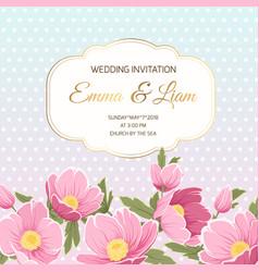 Spring wedding invitation pink anemone hellebore vector