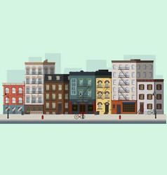 street landscape with apartment buildings shops a vector image