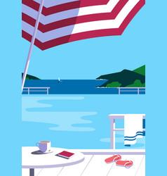 Swimming pool in seashore resort flat color vector