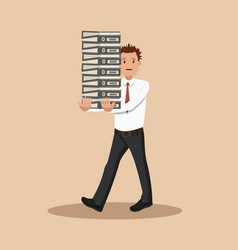 The employee carries a large stack of papers and vector