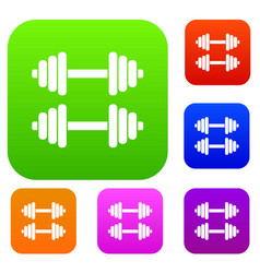 two dumbbells set collection vector image