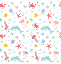 Watercolor sea life pattern vector