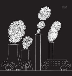 White smokestack on black background vector