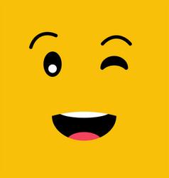 winking funny emotion emoji smile face vector image