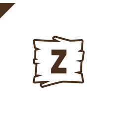 wooden alphabet blocks with letter z in wood vector image