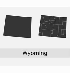 wyoming map counties outline vector image