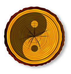 yin yang on timber section vector image