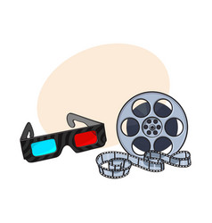 Blue-red stereoscopic 3d glasses and cinema film vector