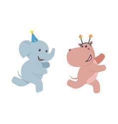 flat elephant hippo character fun running vector image vector image