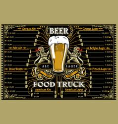 beer food truck menu and logo vector image