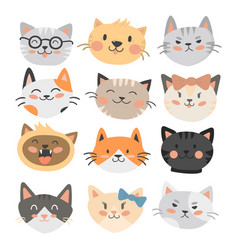 cats heads cute animal funny vector image