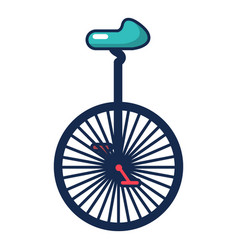 Circus unicycle one wheel bicycle icon vector