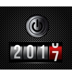 New Year counter 2016 with power button vector image vector image
