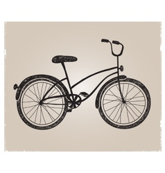 retro hand drawn bicycle silhouette isolated vector image