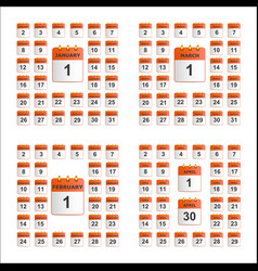 universal set of wall calendar from january to vector image vector image