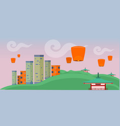 asian landscape with modern and ancient buildings vector image vector image