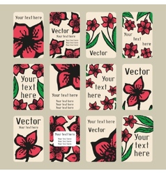 Business cards with doodling flowers in tattoo vector image
