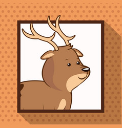 cute deer frame picture vector image