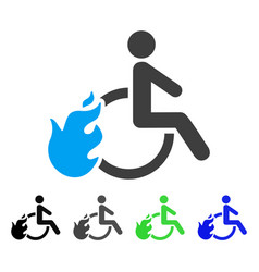 Fired disabled person flat icon vector