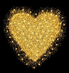Happy valentines day greeting card gold heart with vector