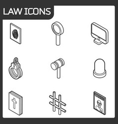 Law outline isometric icons vector