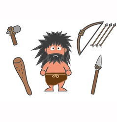 Man and equipments ancient vector image