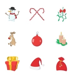 New year holiday icons set cartoon style vector image vector image