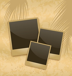 Old style empty photo cards lying on a sea sand vector image vector image