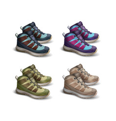 set of colored travel sneakers vector image
