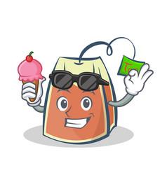 tea bag character cartoon with ice cream vector image vector image