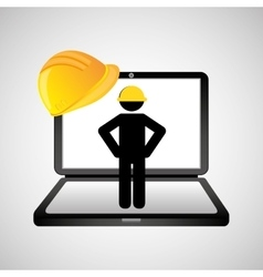 under construction web page worker vector image