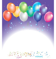 colorful balloons with confetti vector image vector image