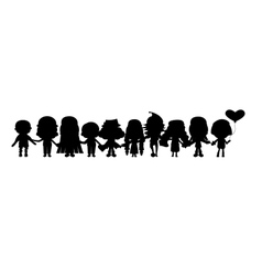 group of childrens silhouettes vector image