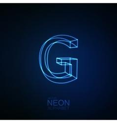Neon 3d letter g vector