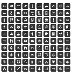 100 rafting icons set black vector