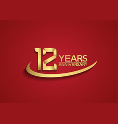 12 years anniversary logo style with swoosh vector