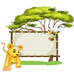 A young tiger and a bee near an empty signage vector