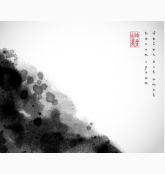 Abstract black ink wash painting on white vector