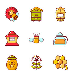 Apiculture icons set flat style vector