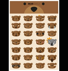 Bear emoji icons vector