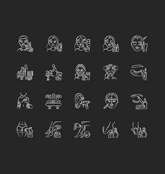 Beauty salon chalk white icons set on black vector