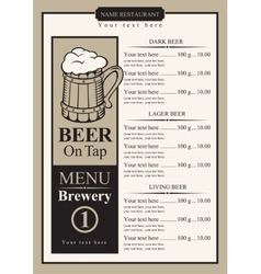 beer menu with price list vector image