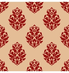 Beige and red seamless damask pattern vector image