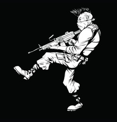 Black and white drawing of a terrorist with a vector