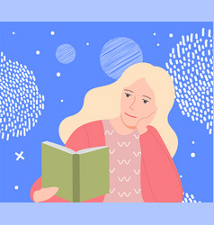 blonde woman sitting and reading book isolated vector image